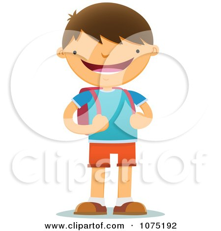 Clipart Happy Smiling School Boy With A Backpack - Royalty Free Vector Illustration by Qiun