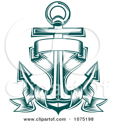 Clipart Teal Nautical Anchor And Banner Logo - Royalty Free Vector Illustration by Vector Tradition SM
