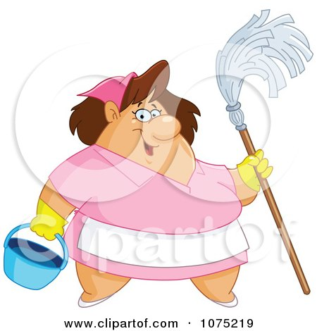 Clipart Friendly Chubby Maid Holding A Mop And Bucket - Royalty Free Vector Illustration by yayayoyo