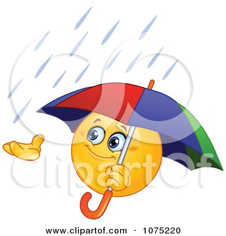 Clipart Emoticon Catching Rain In His Hand And Holding An Umbrella - Royalty Free Vector Illustration by yayayoyo