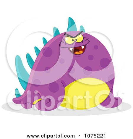 Clipart Chubby Mean Purple Monster - Royalty Free Vector Illustration by yayayoyo
