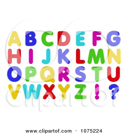 Clipart 3d Colorful Refrigerator Magnet Capital Letters - Royalty Free CGI Illustration by stockillustrations