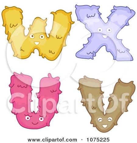 Clipart Plush Alphabet Letters U Through X - Royalty Free Vector Illustration by BNP Design Studio