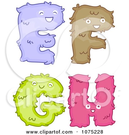 Clipart Plush Alphabet Letters E Through H - Royalty Free Vector Illustration by BNP Design Studio
