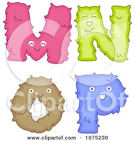 Clipart Plush Alphabet Letters M Through P - Royalty Free Vector Illustration by BNP Design Studio