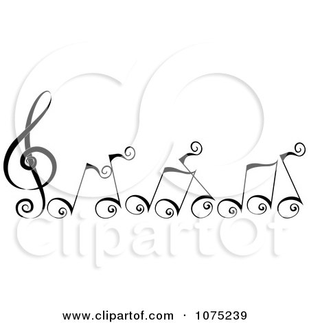 Clipart Black Swirly Music Notes - Royalty Free Vector Illustration by BNP Design Studio