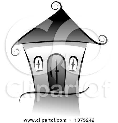 Clipart Black Swirly House Icon And Reflection - Royalty Free Vector Illustration by BNP Design Studio