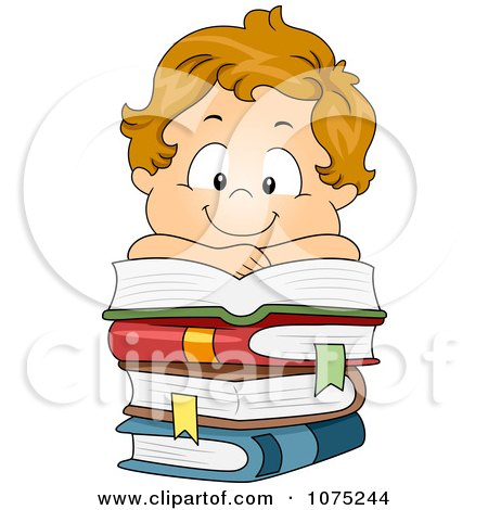 Clipart Happy White School Boy Resting On A Pile Of Books - Royalty Free Vector Illustration by BNP Design Studio