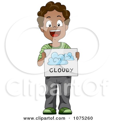 Clipart Black School Boy Holding A Cloudy Weather Flash Card - Royalty Free Vector Illustration by BNP Design Studio