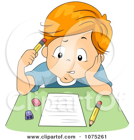 Clipart Stumped School Boy Taking An Exam Test - Royalty Free Vector Illustration by BNP Design Studio