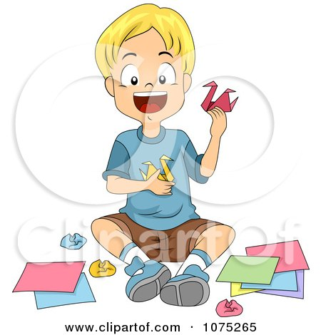 Clipart Happy School Boy Making Origami Swans In Art Class - Royalty Free Vector Illustration by BNP Design Studio