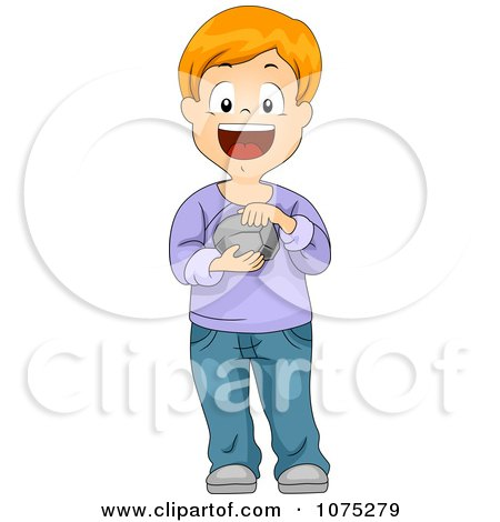 Clipart Happy Boy Touching And Holding A Rock - Royalty Free Vector Illustration by BNP Design Studio