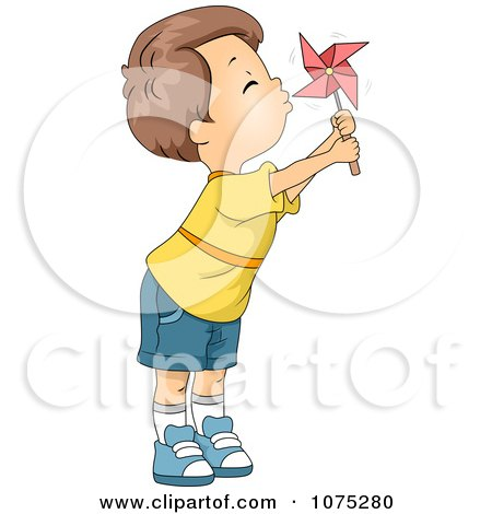 Clipart Cute Boy Blowing A Pinwheel - Royalty Free Vector Illustration by BNP Design Studio