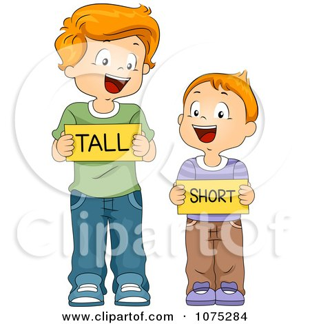 Clipart School Boys Holding Tall And Short Flash Cards - Royalty Free Vector Illustration by BNP Design Studio
