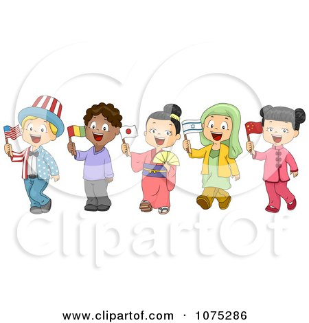 Clipart School Children Dressed To Represent Different Nations - Royalty Free Vector Illustration by BNP Design Studio