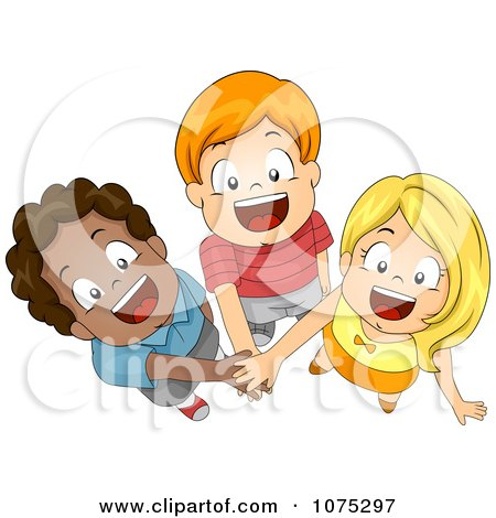 Clipart Three Diverse Children Joining Forces With Their Hands In - Royalty Free Vector Illustration by BNP Design Studio