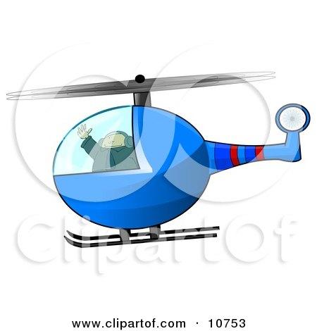 Male Helicopter Pilot Flying Clipart Illustration by djart