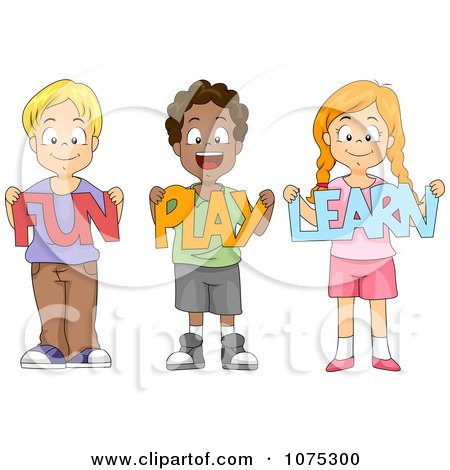 School Children Holding Fun Play Learn Paper Cutouts - Royalty Free