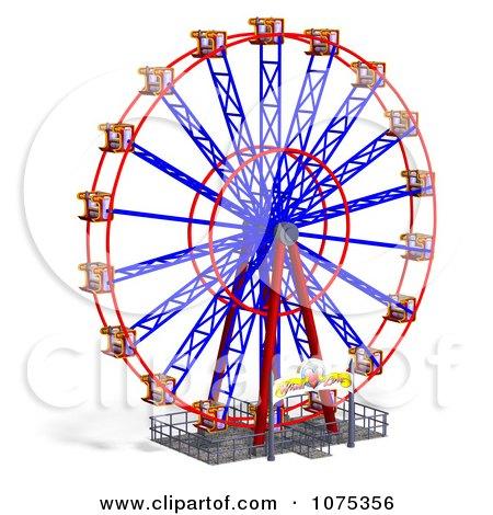 Clipart 3d Wheel Of Fun Ferris Wheel Carnival Ride 2