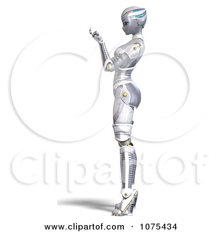 Clipart 3d Futuristic Female Sci Fi Robot Beckoning - Royalty Free CGI Illustration by Ralf61