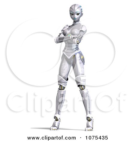 Clipart 3d Futuristic Female Sci Fi Robot Standing 2 - Royalty Free CGI Illustration by Ralf61