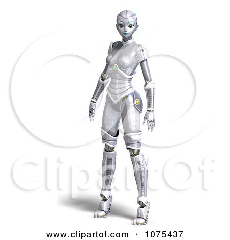 Clipart 3d Futuristic Female Sci Fi Robot Standing 1 - Royalty Free CGI Illustration by Ralf61