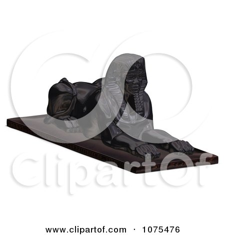 Clipart 3d Black Egyptian Sphinx Statue 2 - Royalty Free CGI Illustration by Ralf61