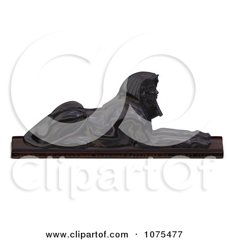 Clipart 3d Black Egyptian Sphinx Statue 1 - Royalty Free CGI Illustration by Ralf61