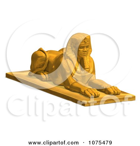 Clipart 3d Golden Egyptian Sphinx Statue 2 - Royalty Free CGI Illustration by Ralf61