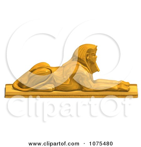 Clipart 3d Golden Egyptian Sphinx Statue 3 - Royalty Free CGI Illustration by Ralf61