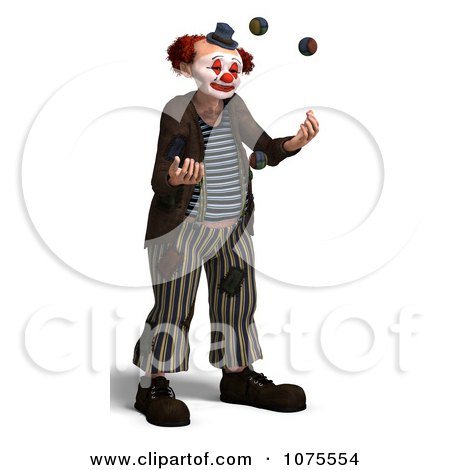 Clipart 3d Clown Juggling 1 - Royalty Free CGI Illustration by Ralf61