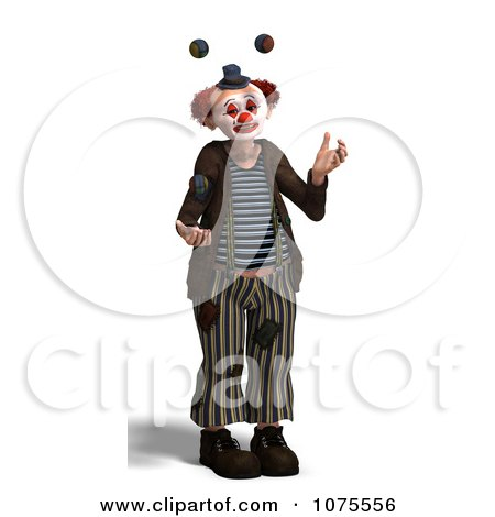 Clipart 3d Clown Juggling 3 - Royalty Free CGI Illustration by Ralf61