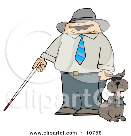 Blind Man With a Cane and Guide Dog Posters, Art Prints