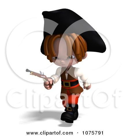 Clipart 3d Pirate Boy Running With A Pistol - Royalty Free CGI Illustration by Ralf61