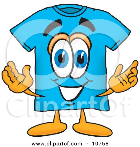 Clipart Picture of a Blue Short Sleeved T-Shirt Mascot Cartoon Character With Welcoming Open Arms by Toons4Biz