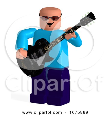 Clipart 3d Toy Man Guitarist - Royalty Free CGI Illustration by Ralf61