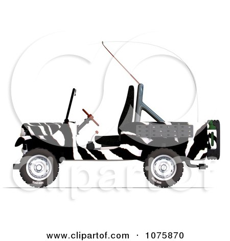 Clipart 3d Zebra Jeep Wrangler Convertible SUV - Royalty Free CGI Illustration by Ralf61