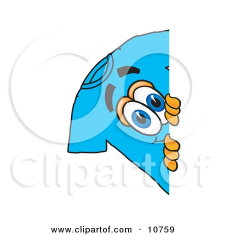 Clipart Picture of a Blue Short Sleeved T-Shirt Mascot Cartoon Character Peeking Around a Corner by Toons4Biz