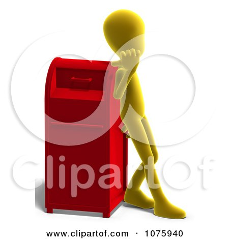 Clipart 3d Yellow Person Leaning Against A Mail Box - Royalty Free CGI Illustration by Ralf61