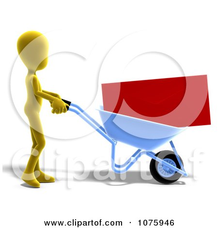 Clipart 3d Yellow Person Pushing An Envelope In A Wheelbarrow - Royalty Free CGI Illustration by Ralf61