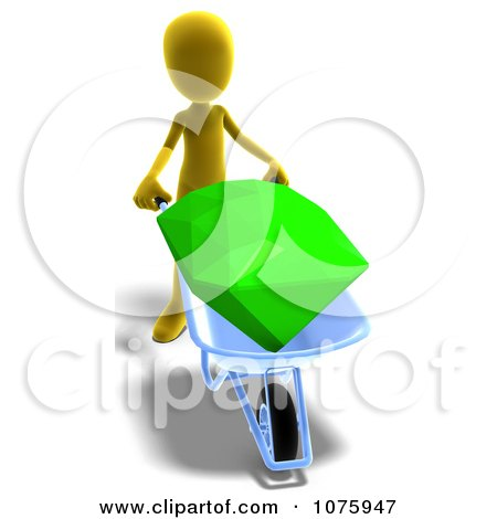 Clipart 3d Yellow Person Pushing A Gem In A Wheelbarrow - Royalty Free CGI Illustration by Ralf61