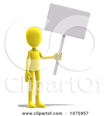 Clipart 3d Yellow Person Holding A Sign - Royalty Free CGI Illustration by Ralf61