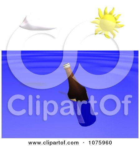 Clipart Floating Bottle In The Ocean - Royalty Free CGI Illustration by Ralf61