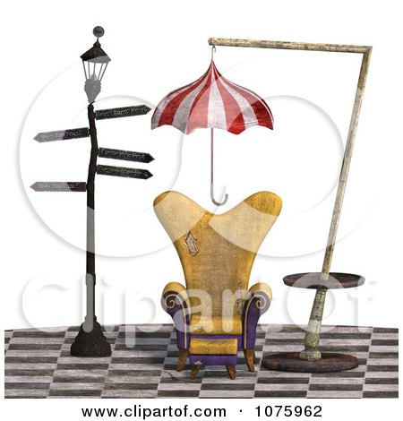 Clipart 3d Chair At A Weird Bus Stop 2 - Royalty Free CGI Illustration by Ralf61