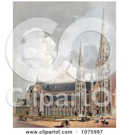 Horses, Carriages And People Near The Cathedral Of The Holy Cross, Boston, Massachusetts - Royalty Free Historical Clip Art  by JVPD
