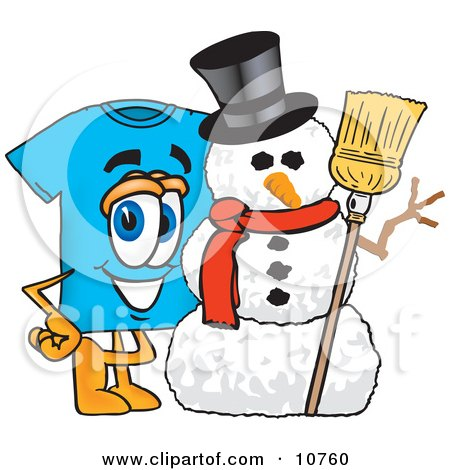 Clipart Picture of a Blue Short Sleeved T-Shirt Mascot Cartoon Character With a Snowman on Christmas by Toons4Biz