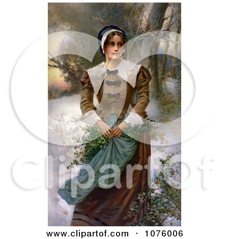 Pretty Puritan Woman Holding Holly in Her Apron While Standing in the Snow Posters, Art Prints