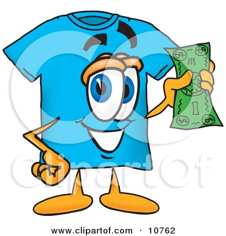 Clipart Picture of a Blue Short Sleeved T-Shirt Mascot Cartoon Character Holding a Dollar Bill by Toons4Biz