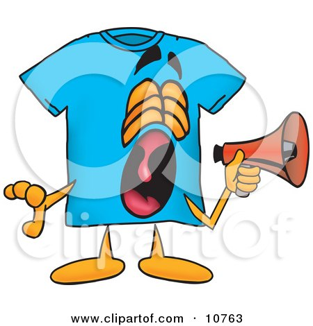 Clipart Picture of a Blue Short Sleeved T-Shirt Mascot Cartoon Character Screaming Into a Megaphone by Toons4Biz