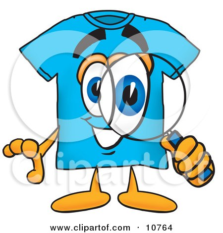 Clipart Picture of a Blue Short Sleeved T-Shirt Mascot Cartoon Character Looking Through a Magnifying Glass by Toons4Biz